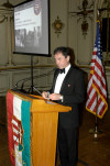 "Hungarian Ambassador, Andras Simonyi, addressed guests, honored the memory of ""a turning pijt in teh 20th century,"" shared hs personal memories as a child, and thanked the American Hungarian Federation for its work in commemorating the revolution"