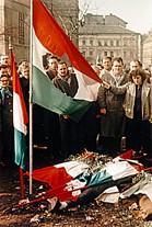 Dead Freedom Fighter draped in Hungarian Flag during the 1956 Revolution