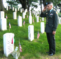 AHF's Lt. Col. Steve Vekony salutes Maj. Nicholas Ferencz, III,  a veteran of the Persian Gulf War tragically lost on September 11, 2000 as a result of a mid-air collision between two F/A-18D Hornets near Yuma, Arizona.