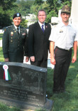 Left to Right: Lt. Col Steve Vekony, AHF Executive Committee Chairman Bryan Dawson Szilagyi, and Major Zoltan Bone, Hungarian Military Attache's Office at the Alexander Asboth Gravesite