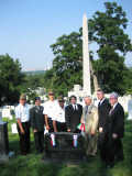 Participants in AHF's Memorial Day Commemoration: Left to Right: Col. Juhasz, Lt. Col. Vekony, Maj. Bone, Col. Varga, Rev. Nagy, Imre Toth, Bryan Dawson-Szilagyi, Zoltan Bagdy