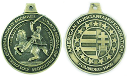 "The Federation's Motto, ""Faithful Unto Death,"" was taken from a letter written by Col. Mihaly Kovats de Fabriczy to Benjamin Franklin. Kovats, known as the Father of US light cavalry, offered his sword in service to the United States and died in battle against the British in Charleston, South Carolina in 1779. AHF's Medal of Freedom is its highest honor."