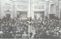 "The American Hungarian Federation commisioned a bronze bust of Lajos Kossuth and presented it to U.S. Congress. The dedication ceremony took place on March 15, 1990, Hungarian National Day, under the magnificent dome of the Capitol Rotunda. The bust is one of only two honoring non-Americans in the Capitol. The base reads, ""Louis Kossuth, Father of Hungarian Democracy."""