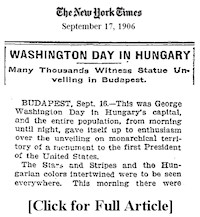 In 1906, several hundred Hungarian-Americans and over 30,000 Hungarians attended the unveiling on September 16th led by AHF's first President, Kohányi Tihamér.