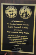 AHF Vice-President Bryan Dawson presented the Lajos Kossuth Award to Congresswoman Marcy Kaptur (D-OH)