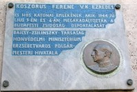 Memorial Plaque in Budapest dedicated to Holocaust Hero Col. Ferenc Koszorus, Sr.