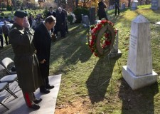 AHF, member organizations, and representatives of the Hungarian embassy in Washington DC placed flowers at the grave of Holocaust Hero, colonel Ferenc Koszorús, in Columbia Gardens Cemetery in Arlington