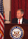 "Senator Voinovich's address was representative of the remarks made by the other speakers. He said, among other things: ""...I understood that getting these countries into NATO would help the Alliance and also guarantee that if history repeated itself and Russia slipped back into its habit of expanding its influence in the region, countries would be safe from the growing claws of expansionism..."""
