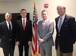 AHF meets with State Secretary Bence Retvari (KDNP) representing a Hungarian delegation visiting the United States at the invitation of the US Department of State's International Visitors Leadership Program. Left to Right: Paul Kamenar, Bence Retvari, Bryan Dawson, Frank Koszorus