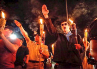 """Alt-Right"" Nazis marching in Charlottesville. The ""Unite the Right"" rally sought to unite far-right groups."