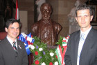 Left to Right: Tamas Hollo and AHF's Sandor Vegh (President of the HungarianAmerican Foundation) at the US Capitol 1848 commemoration event. Behind them is the bust of Louis Kossuth placed by the American Hungarian Federation in the Capitol's Statutory Hall.