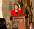 Rep. Nancy Pelosi speaks at the US Capitol in honor of Hungary's 1848 democratic revolution led by Louis Kossuth.
