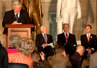 Rep. Dennis Hastert speaks at the US Capitol in honor of Hungary's 1848 democratic revolution led by Louis Kossuth.