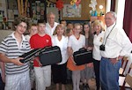 """Classrooms of Tomorrow:"" AHF Donates Laptops to Zalabér Elementary School. Erika Fedor, AHF Social Committee Chair, presented the laptops to Albert Kiss, principal of the Zalaber Middle School. Also attending was AHF Associate President, Gyula Balogh and Zsuzsa Dreisziger heads of the Hungarian American Club (Amerikai Magyar Klub www.amkl.org) in Hungary, AHF's sister organization."