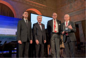 "In Budapest's stunning Vigadó Concert Hall, the Friends of Hungary Foundation presented its first ""Friend of Hungary Award"" to two individuals and to the American Hungarian Federation. Frank Koszorus, Chairman, and Gyula Balogh, Co-President."