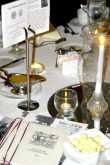Table setting at the AHF Hungarian Ball 2006. In honor of the upcoming Memorial Day, each table was named after a Hungarian Military Hero: The Col. Commandant Michael Kovats table is seen here. Kovats is Father of the US Light Cavalry and died fighting the British at Charleston, S.C., in 1779.