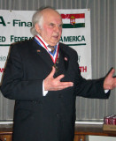 Dr. Horvath addresses participants after receiving AHF's Col. Commandant Michael Kovats Medal of Freedom. The Hungarian Parliamentarian was on a US tour  to discuss the upcoming elections in Hungary and the opportunity for Hungarian citizens living in the United States to participate in the elections.