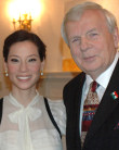 "AHF Co-President, Imre Toth, seen here with producer Lucy Liu, attends Washington Premiere of Andrew Vajna's stirring film, ""Freedom's Fury."""