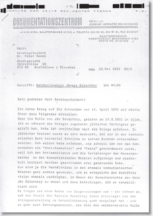 [Download] the letter of Simon Wiesenthal to Dr. Peter Samko regarding the case of Janos Esterhazy (original German)