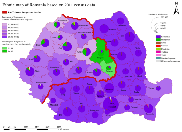 According to the 2011 census, the population of Romania was 20,121,641, of which 6.1% were ethnic Hungarians. The majority of the Hungarians in Romania live in areas that were part of Hungary prior to the 1920 Treaty of Trianon. The most prominent of these areas is Székely Land (Szeklerland, Tinutul Secuicesc or Székelyföld), which is in a region known as Transylvania. Of the forty-one counties of Romania, Hungarians form a significant population in the counties of Harghita (85.21%), Covasna (73.74%), and Mures (38.09%). Other counties with a notable Hungarian population include Satu Mare (34.65%), Bihor (25.27%), Sălaj (23.35%), and Cluj (15.93%).