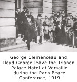 George Clemenceau and Lloyd George leave the Trianon Palace Hotel at Versailles during the Paris Peace Conference, 1919